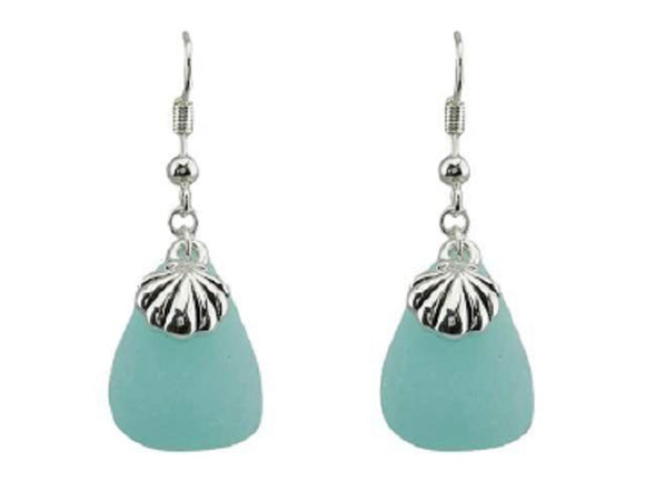 Green Turquoise Triangle Earrings with Sea Life Theme Clam Dangle Earrings ( 1745 )