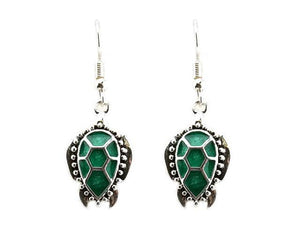 Green Sea Life Theme Turtle Dangle Earrings