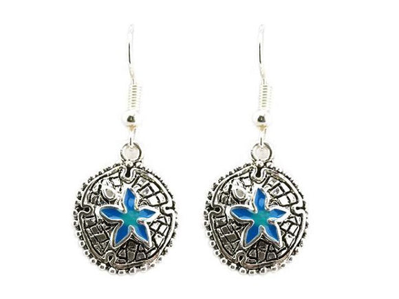 Blue and Silver Sea Life Theme Sand Dollar Dangle Earrings