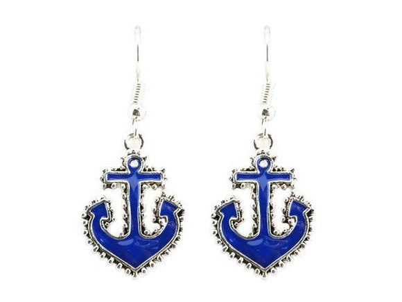Blue and Silver Sea Life Theme Anchor Dangle Earrings ( 1842 )