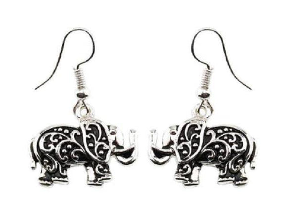 Filigree Silver Elephant Dangle Fish Hook Earrings ( 1850 )