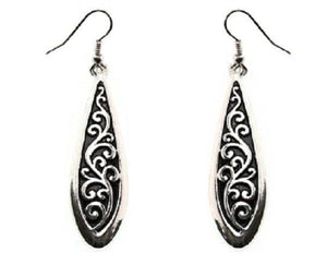"2.5"" Silver Filigree Tailored Design Dangle Earrings"