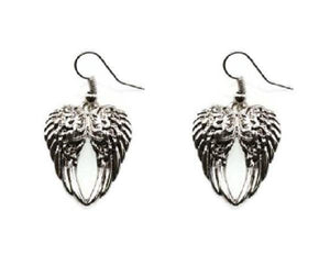 "1.25"" Silver Wing Theme Dangle Earrings"