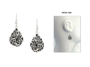 "1 3/4"" Silver Teardrop Filigree Dangle Earrings ( 2709 )"