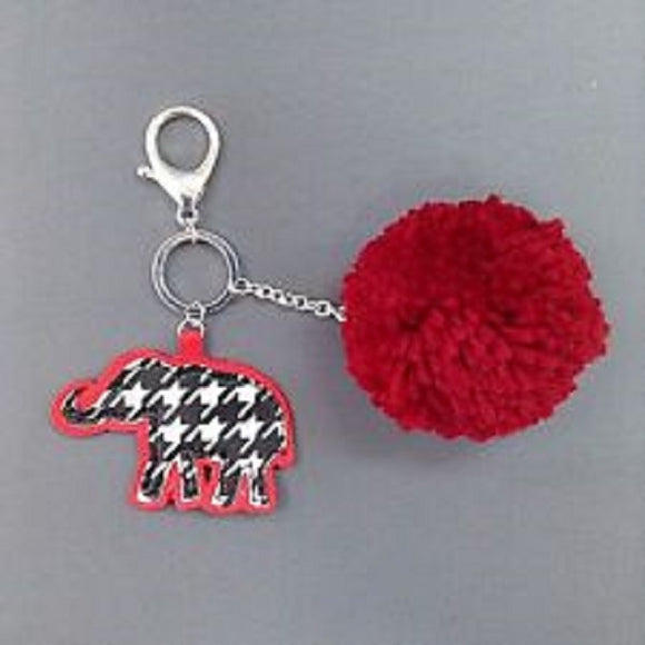 Houndstooth Elephant Keychain with Red Yarn Puff Ball