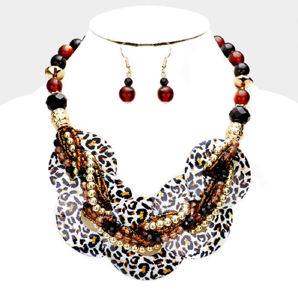 Leopard Brown Animal Print Round Shell and Beaded Fashion Necklace Set ( 541 )