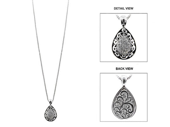 Long Necklace with Silver Rhinestone Filigree Design Teardrop Pendant ( 1173 )