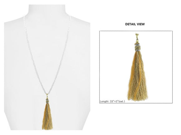 Brown Crystal Beaded Necklace with Brown Feather Thread Tassel ( 1595 )