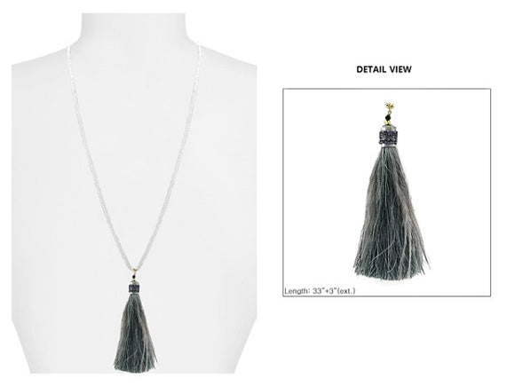 Brown Crystal Beaded Necklace with Gray Feather Thread Tassel ( 1595 )