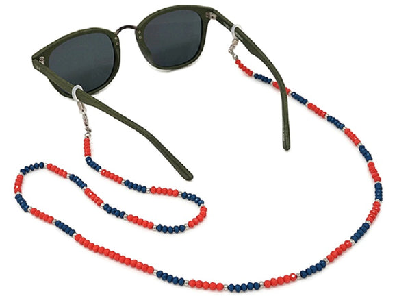 ORANGE AND BLUE CRYSTAL GLASSES SUNGLASSES CHAIN ( 2400 )