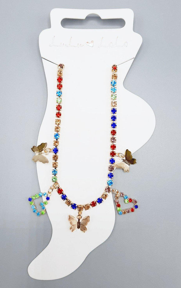 GOLD ANKLET BUTTERFLIES HEARTS MULTI COLOR STONES ( 1506 )