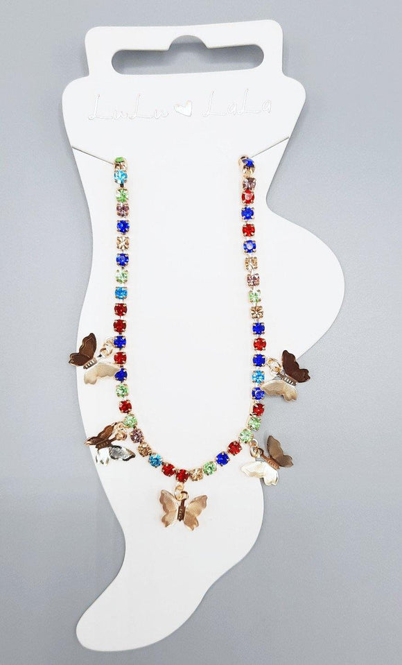 GOLD ANKLET BUTTERFLIES MULTI COLOR STONES ( 1507 )