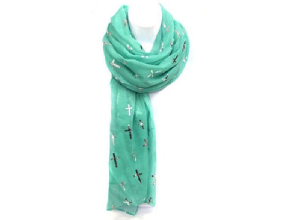 Turquoise Color Scarf with Silver Crosses ( 0615 )