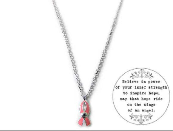 Pink Ribbon Magnifying Message Necklace Breast Cancer Awareness