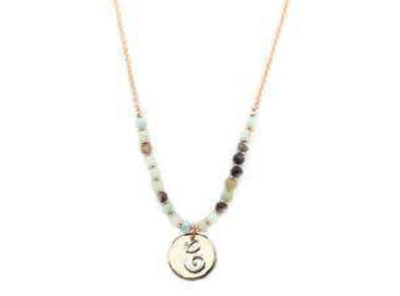 Amzonite Semi Precious Stone Beaded Necklace with Rose Gold and Silver C Monogram Initial