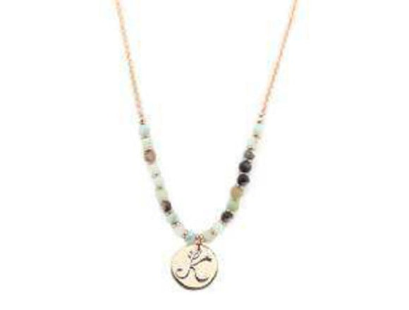 Amzonite Semi Precious Stone Beaded Necklace with Rose Gold and Silver K Monogram Initial