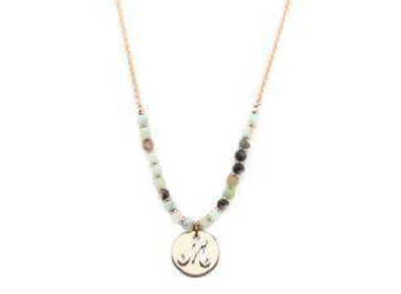 Amzonite Semi Precious Stone Beaded Necklace with Rose Gold and Silver M Monogram Initial