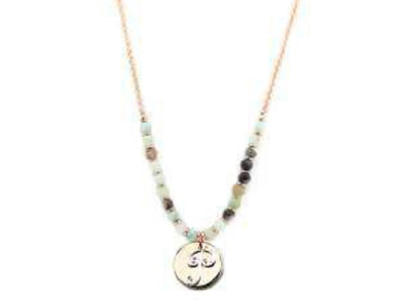 Amzonite Semi Precious Stone Beaded Necklace with Rose Gold and Silver P Monogram Initial