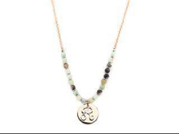Amzonite Semi Precious Stone Beaded Necklace with Rose Gold and Silver R Monogram Initial