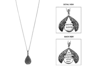 "33"" Long Silver ""Teacher's Blessing"" Message Locket Necklace ( 1555 )"