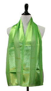Lime Green Satin Stripe Scarf