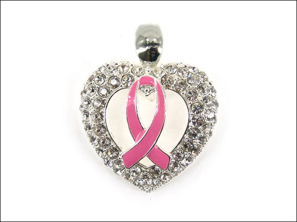 Clear Rhinestone and Pink Ribbon Enamel Magnetic Pendant ( 0137 )