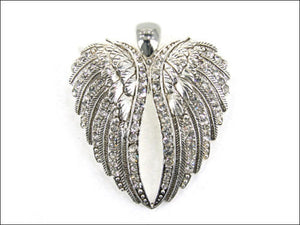 Magnetic Silver and Clear Rhinestone Wings Pendant