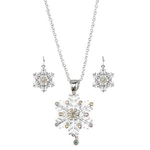 Silver Snowflake Necklace with AB Rhinestones Christmas with Matching Earrings ( 4590 )