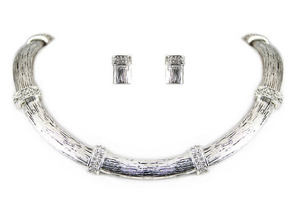 Brushed Silver U Shape Necklace Set with Rhinestones
