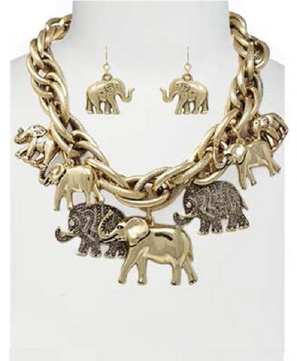 Chunky Gold Elephant Charm Necklace with Matching Dangle Earrings ( 6085 AG )