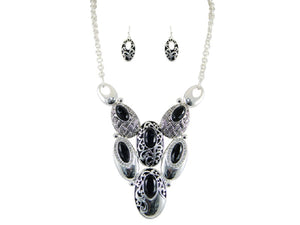 Black and Silver Oval Filigree Fashion Necklace Set ( 5495 )