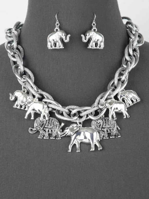 Chunky Silver Elephant Charm Necklace with Matching Dangle Earrings ( 6085 AS )