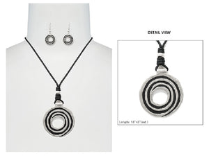 Worn Silver Swirl Round Pendant Necklace on Black Chord with Earrings ( 6133 )