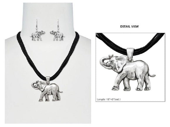 Silver Full Body Elephant Pendant Necklace on Black Chord with Matching Elephant Earrings ( 6170 )