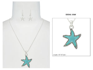 Silver Necklace with Dangling Turquoise Color Starfish Charm ( 6236 )