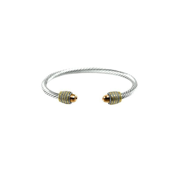 SILVER GOLD CHAMPAGNE STONE CUFF BANGLE ( 1007 )