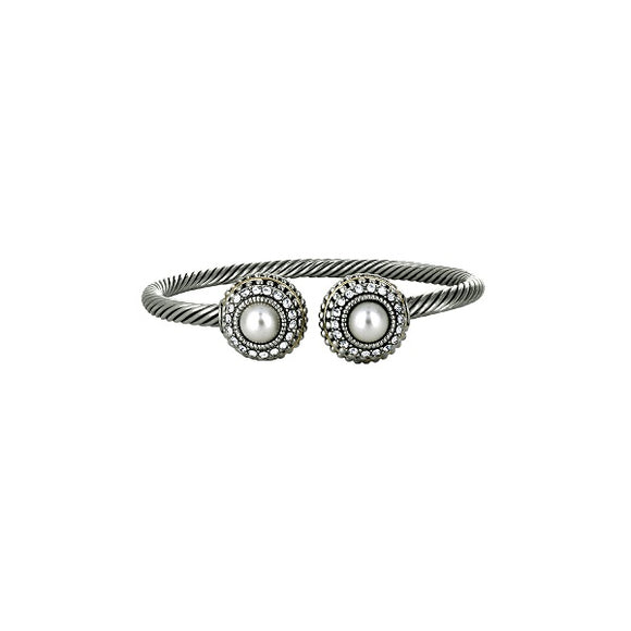 Twisted Cable Cuff Bracelet with Two Tone Ends and Clear Stones and Faux Pearls ( 1018 )