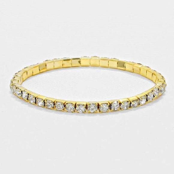 1 LINE GOLD CLEAR RHINESTONE STRETCH BRACELET ( 1053 )