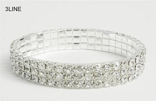 3 Line Silver Clear Rhinestone Formal Stretch Bracelet ( 1055 )