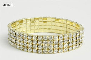 4 Line Gold Clear Rhinestone Formal Stretch Bracelet ( 1058 )