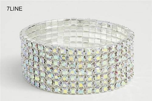 7 Line Silver AB Rhinestone Formal Stretch Bracelet ( 1059 )
