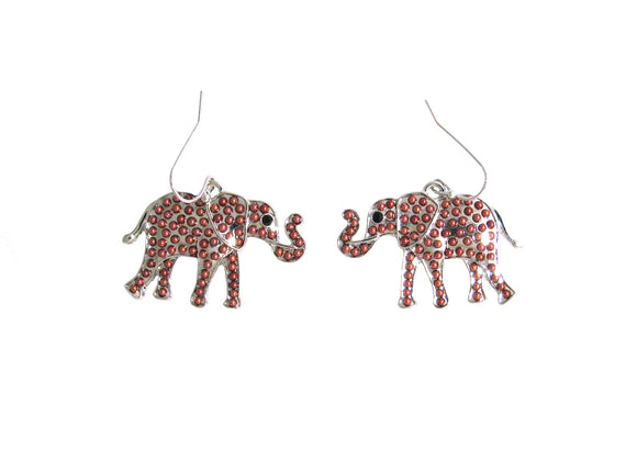 SILVER ELEPHANT EARRINGS RED BEADS ( 1359 )