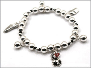 Kids Silver Beaded Stretch Bracelet with Soccer Charms ( 22755 )