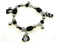 Kids Silver, Black, and White Beaded Stretch Bracelet with Panda Bear Theme Charms ( 28586 )