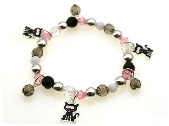 Kids Beaded Stretch Bracelet with Cat Charms ( 29331 )