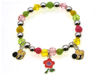 Kids Multi Color Beaded Stretch Bracelet with Bee Theme Charms ( 29338 )