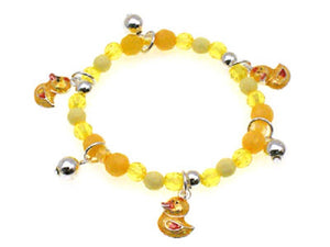 Yellow Beaded Kids Stretch Bracelet with Rubber Ducky Charms ( 29352 )