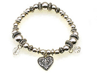 Kids Silver Beaded Stretch Bracelet with Heart Theme Charms ( 30895 )