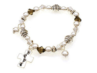 Kids Silver Beaded Stretch Bracelet with Footprints Cross Theme Charms ( 31551 )