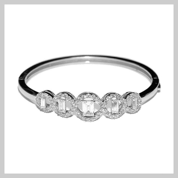 SILVER BANGLE CLEAR CUBIC ZIRCONIA CZ STONES ( 600 )